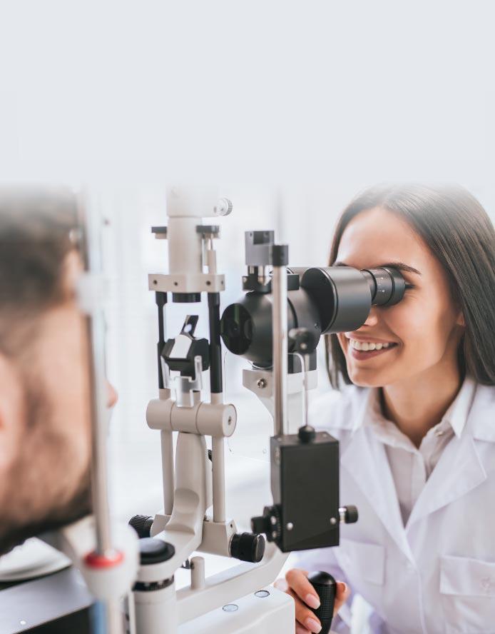 doctor giving an eye examination