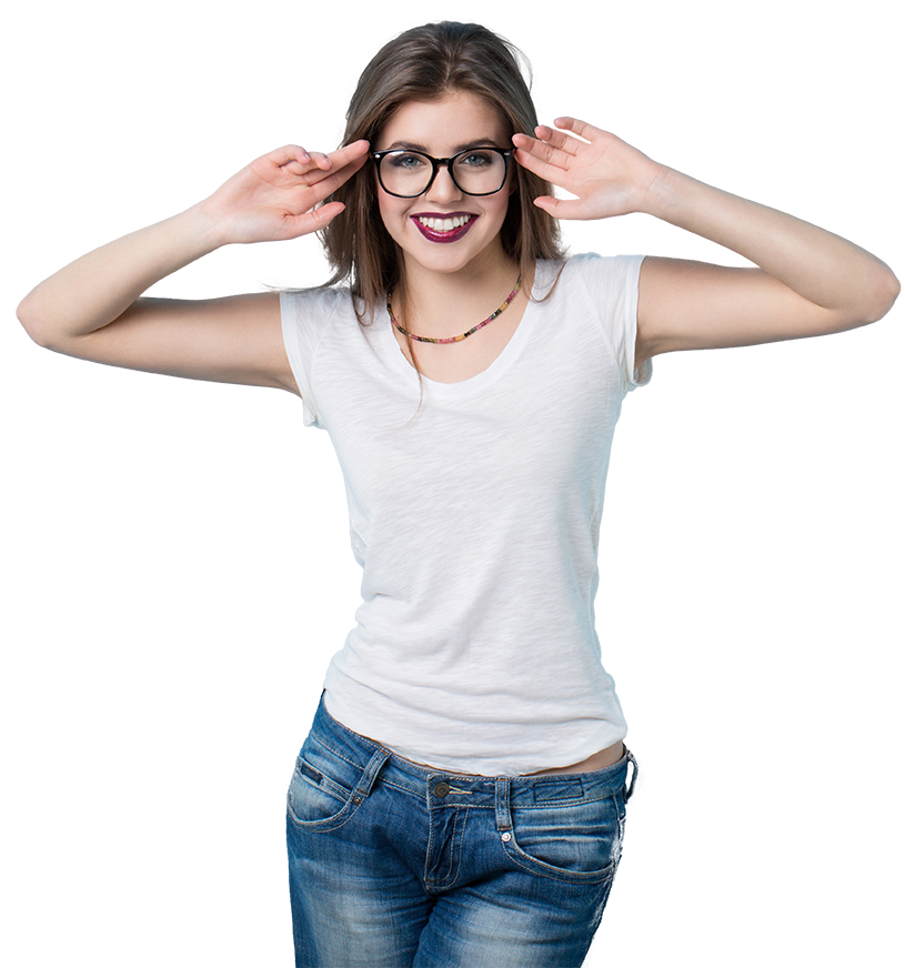 woman wearing a pair of glasses and a white t shirt while holding her hands up